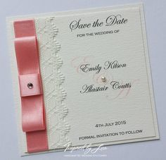 Save the Date card with delicate ivory lace and blush ribbon on an ivory, textured, heavyweight board. Finished with an ivory pearl.
