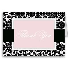 Damask Thank You Pink Black and White Monogram Greeting Card