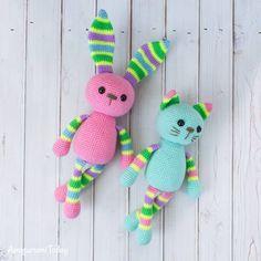 Amigurumi stripy cat and rabbit - Free crochet patterns by Amigurumi Today