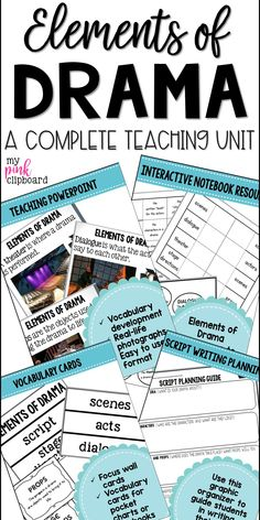 Structure and Elements of Drama Unit Grades Common Core & TEKS Aligned - ELA - Upper Elementary - Yorgo Angelopoulos Drama Teacher, Drama Class, Drama Drama, Drama Activities, Drama Games, Teaching Theatre, Teaching Music, Learning Guitar, Teaching Reading