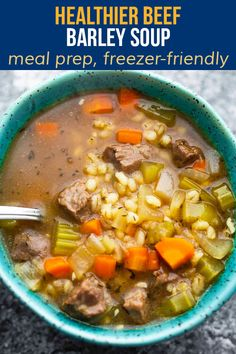 Beef and barley soup is thick, hearty, and full of umami and rich beef flavor. The perfect soup to cozy up with on a colder day, it tastes even better on day 2! Healthy Meals, Healthy Recipes, Beef Barley Soup, Yummy Food, Tasty, Slow Cooker Soup, 200 Calories, Pot Roast, Soups And Stews