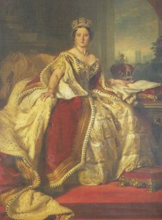 The Winterhalter portrait of Queen Victoria in her Parliament robe. The Queen, later to be so dowdy in her long widowhood, had a considerable love of fine jewellery when young.Her diamond fringe bordure would reappear around Queen Alexandra's waist at the 1902 coronation.