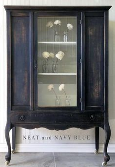 Distressed GF Lamp Black Milk Paint Hutch | General Finishes Design Center: