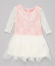 Look at this Little Mass Ivory & Coral Floral Lace Dress - Infant & Toddler on #zulily today!