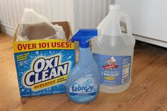 The Prudent Life: Homemade Carpet Shampoo: 1 1/2 scoops Oxyclean 1/4 cup white vinegar 1/4/ cup Febreze (or other generic spray)  Mix together with a gallon of hot water and add to machine.  Any vinegar smell will fade away quickly as carpet dries!