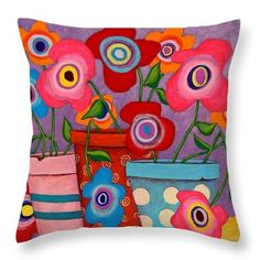 Floral Happiness Throw Pillow by John Blake