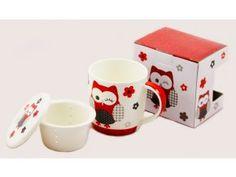 Porcelánový hrnek 390 ml se sítkem a víčkem - červená sova Mugs, Tableware, Dinnerware, Tablewares, Mug, Place Settings
