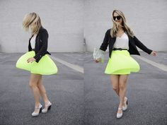 NEONS - Zara Clutch, Maje Belt, Urban Outfitters Skirt, Dries Van Noten Heels