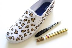 Customize your plain white slip-ons with leopard print using this simple DIY.