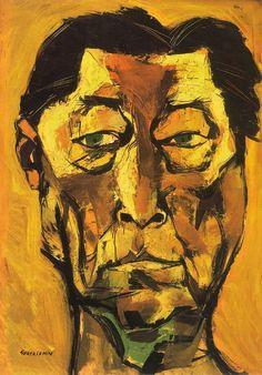 """Oswaldo Guayasamín (1919-1999). Ecuadorian master painter and sculptor of Quechua and Criollo heritage. """"Retrato de Atahualpa Yupanqui""""  (1974). Oil on Canvas. 140x99cm. Colección Fundación Guayasamín."""