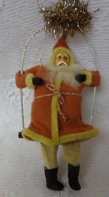 Antique  German Old World Santa on Swing Christmas Ornament Very Cute