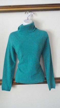 Valerie Stevens 100% cashmere Teal Blue Turtleneck Sweater Mock Medium M Blouse #valeriestevens #TurtleneckMock