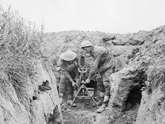 "Jul 10 Australian Light Trench Mortar Battery operate a light trench mortar established in a machine gun post on the new front line. From left to right: 1916 Lance Corporal A J Ellis and 2700 Private A Lawler"". World War One, First World, Ww1 History, Battle Of The Somme, Lance Corporal, Anzac Day, International Day, Lest We Forget, Image Shows"