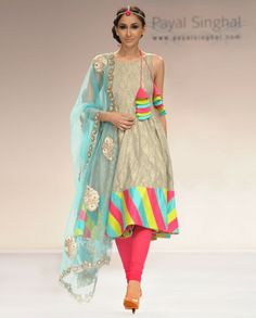 Colorful Ash Grey Benarsi salwar Suit with Net Dupatta