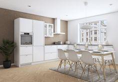 Modernia 50-luvun tunnelmaa  Aura-keittiö henkii modernilla tavalla 50-luvun tunnelmaa. Nauhamainen raami kehystää oven kauniisti ja tuo keittiön ulkoasuun ripauksen herkkyyttä.  Erilaisilla vetimillä ja sävyillä voit muokata keittiön tyyliä juuri sinun makuusi sopivaksi. Table, Furniture, Home Decor, Decoration Home, Room Decor, Tables, Home Furnishings, Home Interior Design, Desk