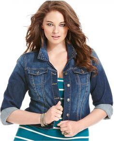 Jessica Simpson Plus Size Jacket, Rhinestone-Collar Denim, Waverly Was