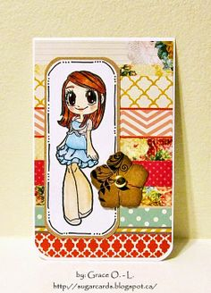 sugar cards/Grace O. uses Thank You Mae clear set to make this cute card. www.someoddgirl.com #clearstamp #someoddgirlmae