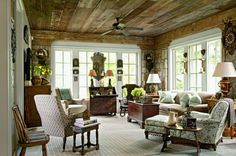 "Love the folksy yet refined charm of this NC mountain house sitting room by Jackye Lanham. Architect, Norman Askins, featured in his ""Inspired by Tradition."" Photo Susan Sully. Courtesy Monacelli Press. Frances Schultz 