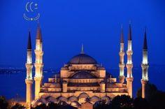 Urandir - Vista Noturna da Mesquita Azul em Istambul - Turquia Turkey Travel, Taj Mahal, Places To Go, Photo Galleries, Mountains, Landscape, Building, Bermuda, Ufo