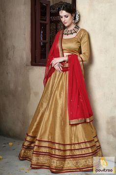 New arrival fashion with golden and red navratri chaniya choli online shopping store. This ghagra choli is designed with beauty lace border and stone on choli. #lehengacholi, #Lehengastyle, #navaratrigarbacholi, #chaniyacholi, #ghaghracholi, #weddingbridalcholi, #discountoffer, #festivalcholi, #pavitraafashion, #utsavfashion, #georgettelehengastyle, #redlehengastyle http://www.pavitraa.in/store/lehengha-choli/ callus:917698234040