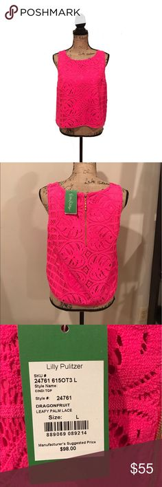 Lilly Pulitzer Dragonfruit Cindi Crop Top NWT, never worn! Lilly Pulitzer leafy palm Lace cindi Crop top in dragonfruit. Beautiful hot pink color. Gold zipper on the back. It's summer, show some skin. The Cindi Top will let you do just that. It's a sleeveless lace crop top with an exposed zipper in the back, and would look great with a pair of fun, printed pants. Lilly Pulitzer Tops Crop Tops