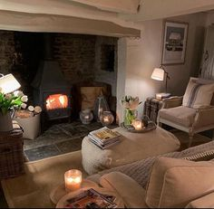 royal blue home decor living room Cottage Lounge, Cottage Living Rooms, Living Room Decor, Cottage Fireplace, Inglenook Fireplace, Fireplaces, English Cottage Interiors, Cotswold Cottage Interior, Estilo Country
