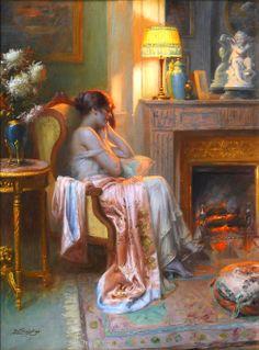 'Le Coin du Feu'... by; Delphin Enjolras (1857-1945)