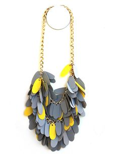 """Par """"Plastic Girl"""" (Liana Kabel)  Grey With Yellow Necklace  - made from recycled plastic folder inserts and vintage  chain."""