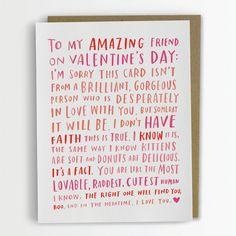Valentine For My Amazing Single Friend / by emilymcdowelldraws, $4.50