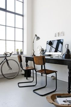 Top 30 Stunning Home Office Design - Site Home Design Loft Office, Home Office Space, Home Office Design, Home Office Decor, Home Interior Design, House Design, Office Ideas, Diy Interior, Office Designs