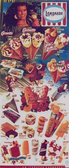 Langnese Ice Lollys Eiskarte 1988 Popsicle