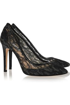Heel measures approximately 105mm/ 4 inches Black lace and leather Slip onLarge to size. See Size & Fit tab.