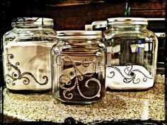 Canisters I bought from hobby lobby, I took crystal stickers from the scrapbooking section and decorated them!