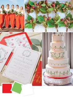 Poppy, celadon and white wedding color inspiration