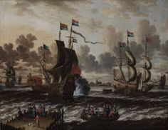 Peter van de Velde, Antwerp 1634–1723/4 Ships in Front of the Harbour of Hoorn: a Meeting Between the Dutch Man–of–War 'De Roode Leeuw' and a Spanish Galley, and Figures in a Rowing Boat and on a Quay in the Foreground Oil on canvas 65.8 by 83.7 cm.