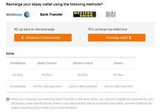 Formas de ingreso permitidas en Alipay (el Paypal de Alibaba - Aliexpress)