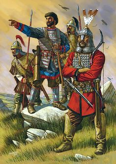 Justinian and some dismounted heavy cavalrymen. The two in back are Byzantine and the one, front right, is a Central Asian mercenary. - art by Johnny Shumate
