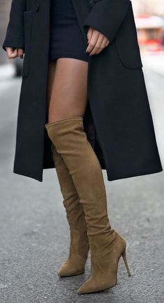 Camel Suede Pointy Toe Over-the-knee Boots