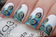 Nail Art - Peacock nail design. Very pretty!