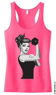 MODERN ROSIE the RIVETER #Workout #Tank Top Pink -- By #NobullWomanApparel, for only $24.99! Click here to buy http://nobullwoman-apparel.com/collections/fitness-tanks-workout-shirts/products/modern-rosie-the-riveter-workout-tank-top-pink