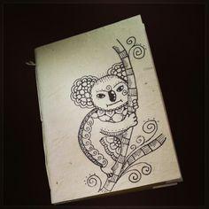 Diy notebook in rice paper. Zentangle Koala