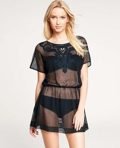 Ann Taylor - Honeymoon Styles: Dressy & Casual Clothes for Your Honeymoon: ANN TAYLOR - Embroidered Neck Swimsuit Cover Up