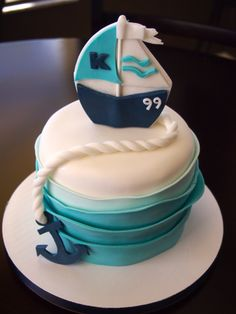Sail Boat birthday cake for my future little one