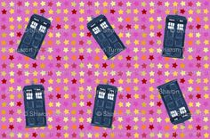Pink star tardis...from Spoonflower