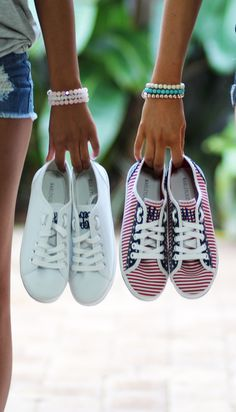Red, White, and Fabulous! Check out our #shoesale for these cute new Monogrammed Sneakers!!