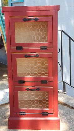 3 Door Vegetable Bin.  Beautiful, Handmade piece built from real Pine wood. Use it to store potatoes, onions, bread, or anything else you see fit!