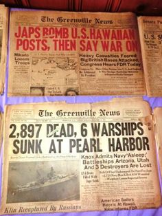 News of Pearl Harbor from The Greenville news in this authentic vintage newspaper