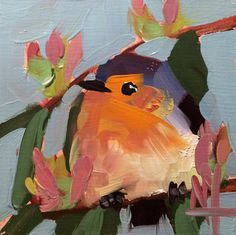Robin no. 135 Original Bird Oil Painting by Angela Moulton 4 x 4 inch on Birch Plywood Panel pre-order by prattcreekart on Etsy