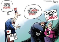 """UNCLE SAM (in reference to gay marriage:) """"Peoples views are evolving."""" RELIGIOUS RIGHT (holding 'Gays are sinners' sign) """"Luckily, we don't believe in evolution either! Trump Political Cartoon, Political Cartoons, Taken Quotes, Political Junkie, Lgbt News, Atheism, Satire, Lesbian, Evolution"""
