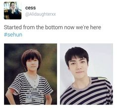 went from adorable to adorkable but OMG SEHUNNIE AHHH the old bowl yet similar shirts :3